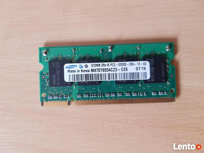 Pamięć RAM Samsung DDR2 512 MB PC2-5300s M470T6554CZ3-CE6