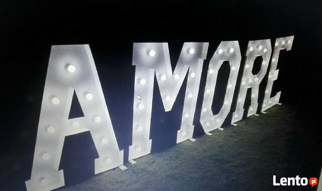 Napis AMORE - 120 cm wys. WYNAJEM