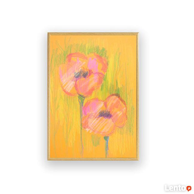 maki obraz ręcznie malowany, maki pastele, ciepłe kolory obr