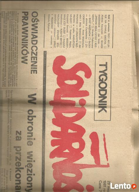 archiwalny tygodnik : SOLIDARNOSC z1981 rok