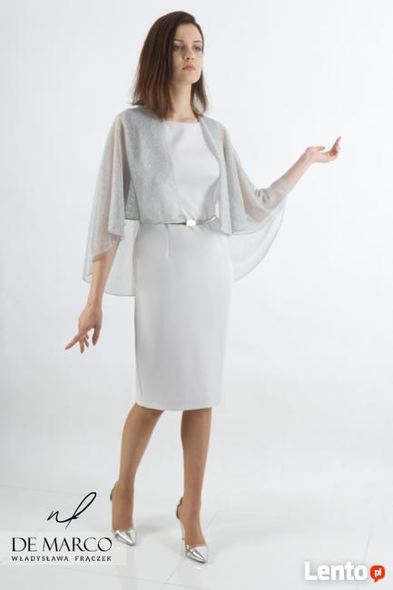 Ołówkowa sukienka w kolorze szarym z oryginalnym etole DM
