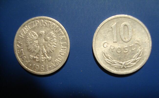 Moneta 10 groszy 1981 rok.