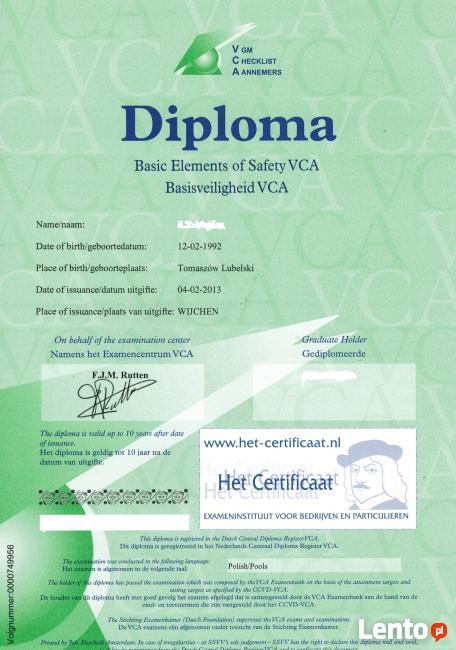 SCC VCA szkolenia certyfikaty praca Niemcy Holandia Szwajcar