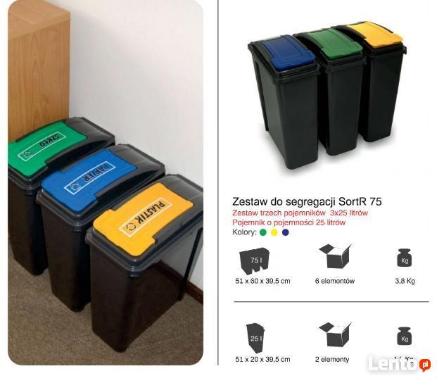 Zestaw 3 koszy do segregacji śmieci do biura , domu, urzędu