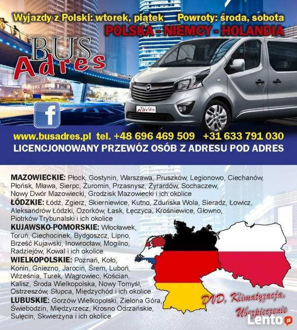 busy do Holandii, Niemiec, Antwerpii, Brukseli