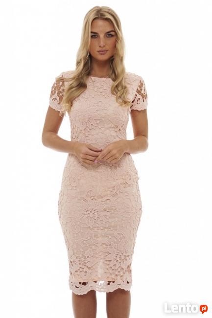 22e3aa0bd1 Różowa koronkowa sukienka ołówkowa midi z krótkim rękawkiem Czeladź