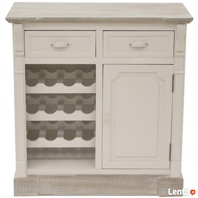 biała stylizowana szafka na wino komoda