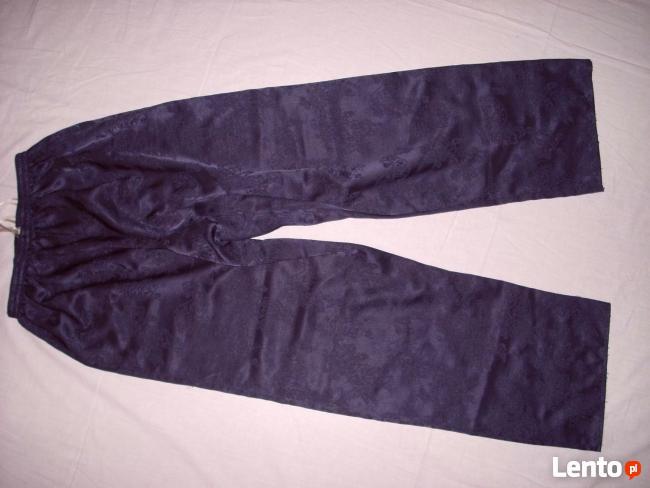 BHS Spodnie do Spania Żakard Satyna Granat 40 42 j Nowe