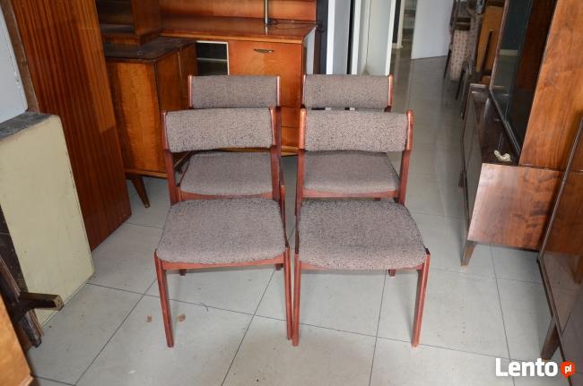 Krzesła drewniane tapicerowane,Krzesło PRL 4 szt, fotele PRL
