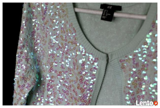 Bolerko H&M rozmiar 34 36 kolor pistacjowy cekiny
