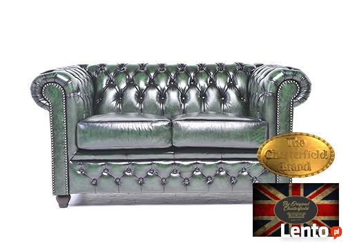 Chesterfield sofa 2 os antyczna zielen skora