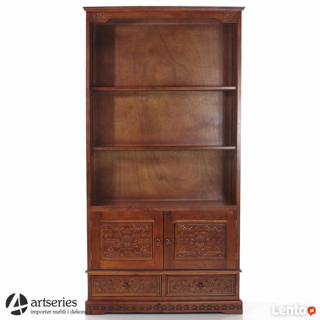Stylowy regał drewniany biblioteka rzeźbiona