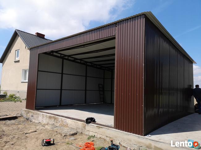 Garaż blaszany z bramą, jednospadowy dach, blaszak wiata 7x8