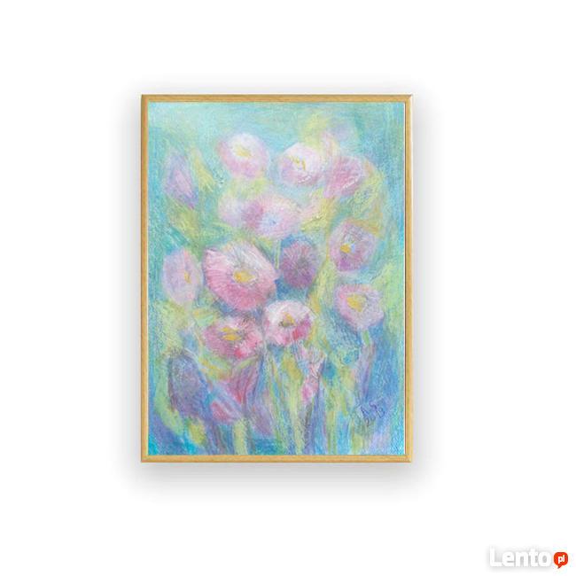 pastel rysunek z kwiatami, obrazek pastele olejne w ramce