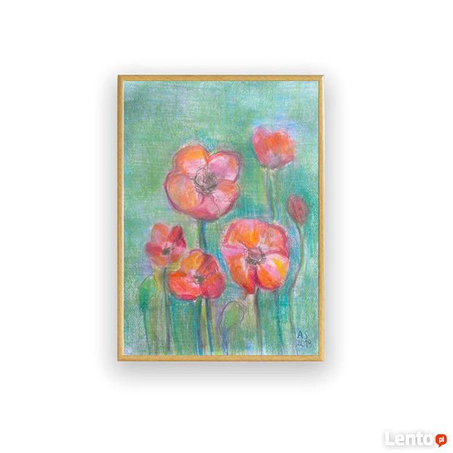 maki rysunek w ramce, czerwone kwiaty obrazek oprawiony
