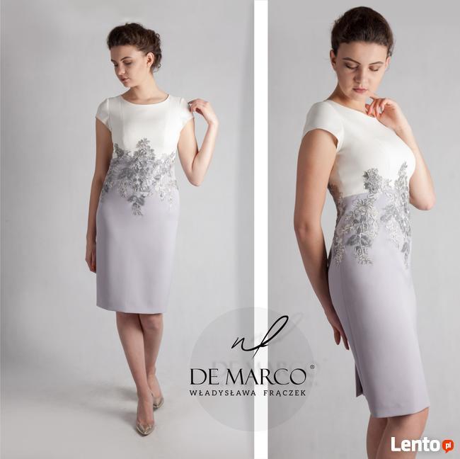 Popielata sukienka ze srebrną koronką na wesele Duże rozmiar