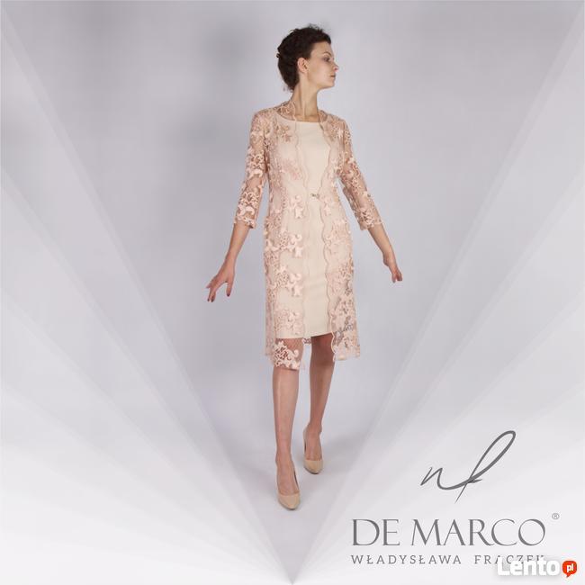 Komplet sukienka z koronkowym płaszczem na wesele. De Marco
