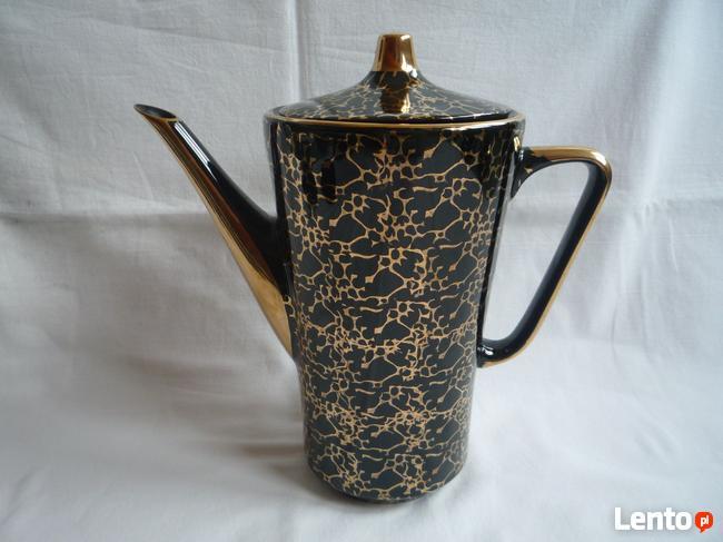 Serwis do kawy 16 części Chodzież czarny złocony marmurek