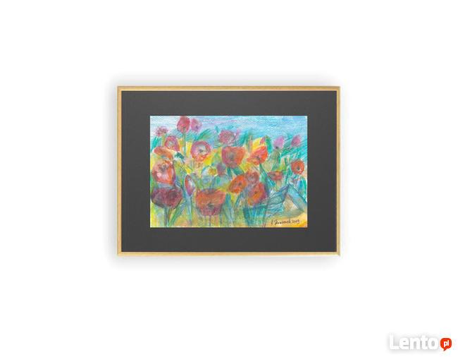 akwarela z makami, malowana ręcznie akwarela z kwiatami