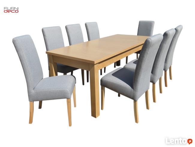 Duży Elegancki Zestaw 8 Tapicerowanych Krzeseł + Stół