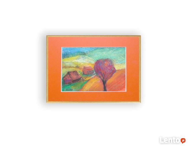 jesień krajobraz, kesienny pejzaż malowany ręcznie w ramce