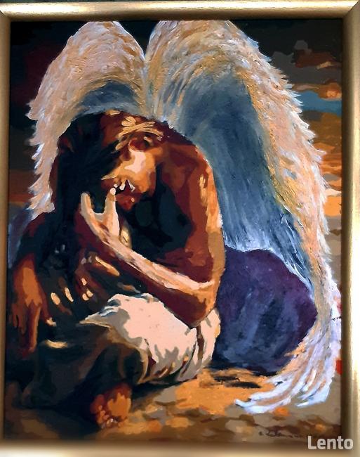 Anioły recznie malowane na desce ,płótnie .Obrazy dekoracje