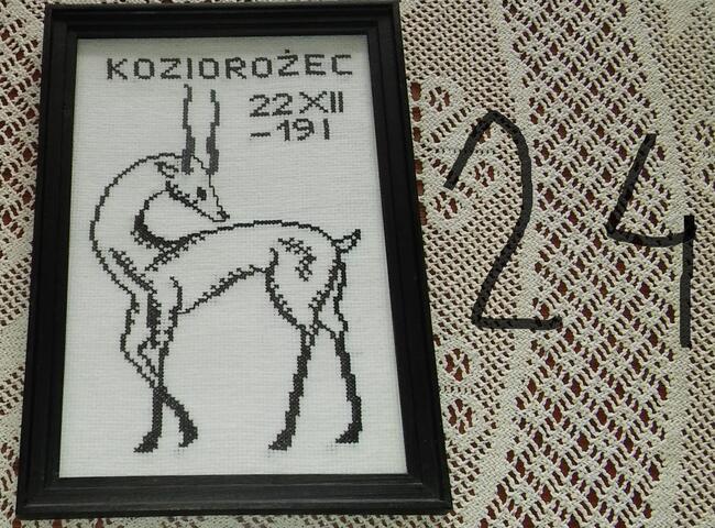 Koziorożec znak zodiaku haftowany, oprawiony