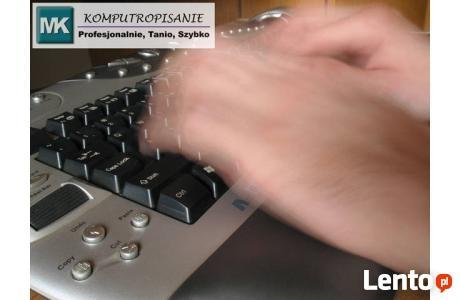 Przepisywanie tekstu, - Komputeropisanie, skład komputerowy.