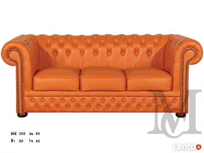 Sofa Tudor Chesterfield 3-osobowa - 100% skóra naturalna