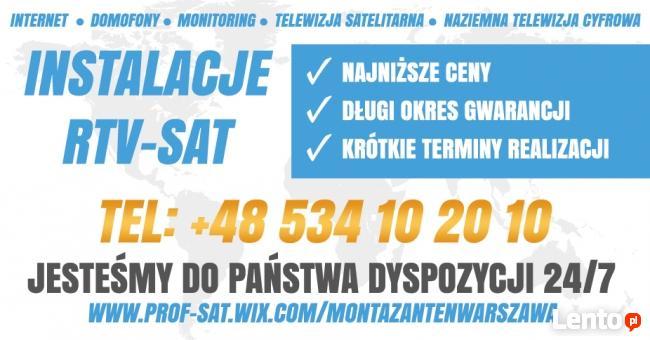 INSTALACJE TV montaż serwis ANTEN sat dvb-t TELEWIZJA 24h/7