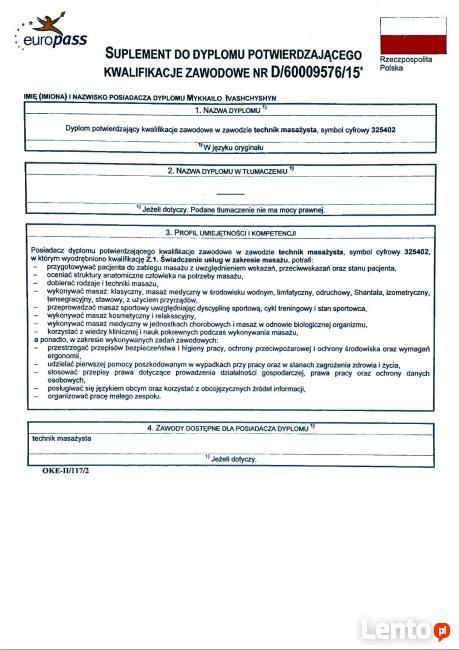 Technik Masażysta/Licencjat fizjoterapii Poszukuje Prace