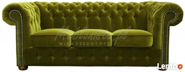 Pikowana sofa Chesterfield Classic 3 os z funkcją spania