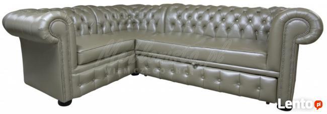 Ekskluzywna srebrna złota sofa narożna w stylu chesterfield