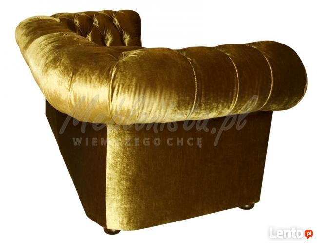 Srebrna/Złota Sofa Chesterfield York głęboko pikowana styl
