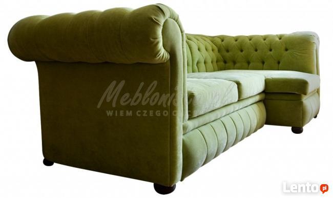 Pikowana sofa narożna chesterfield funkcja spania pojemnik