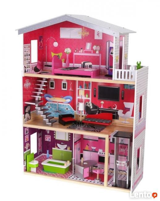 DREWNIANY DOMEK 114 cm z windą dla lalek Barbie Rezydencja M
