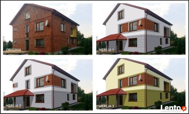 Projekt Elewacji Budynku Domu Wizualizacja Na Zdjeciu Olsztyn