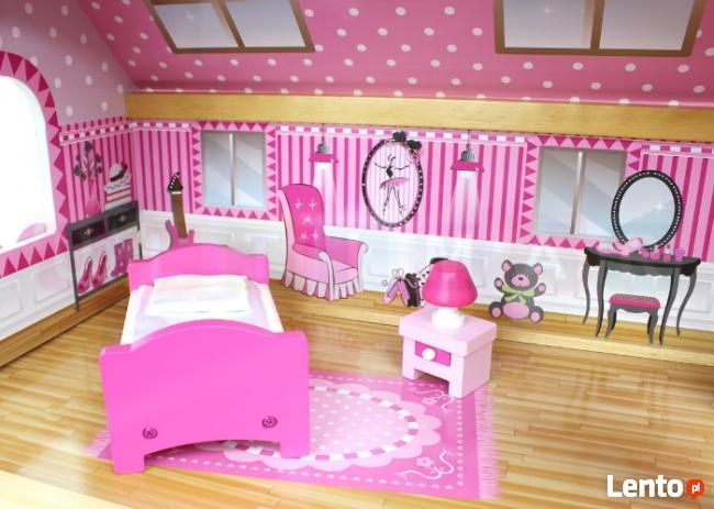 Duży drewniany domek dla lalek 90 cm + Wyposażenie