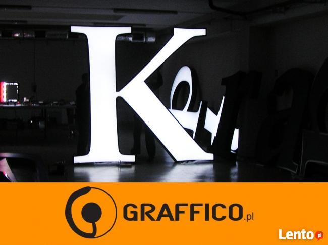 Kasetony reklamowe, litery podświetlane led _ duże gabaryty