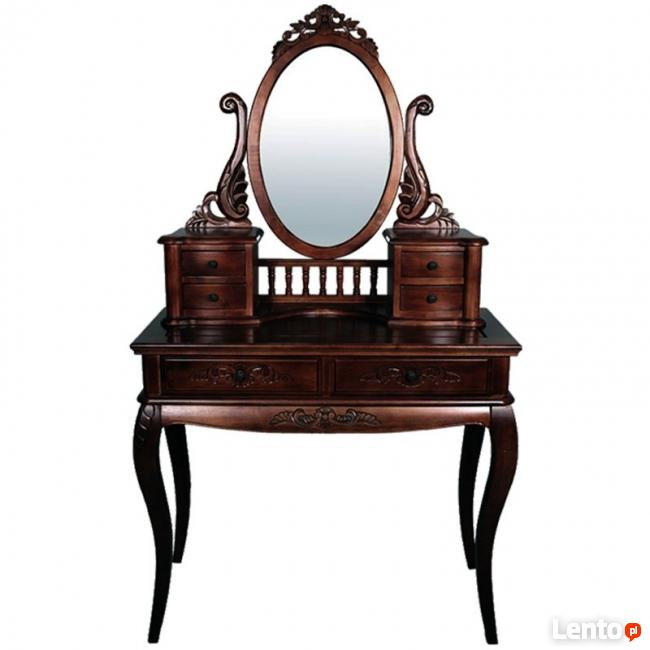stylowa drewniana toaletka z lustrem w kolorze mahoniu