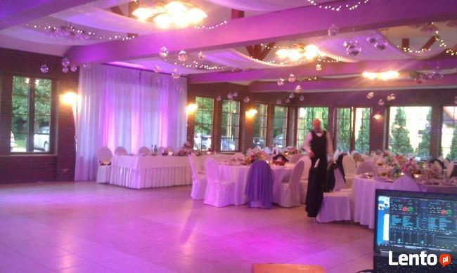 Dekoracja światłem sali weselnej, oświetlenie elewacji.