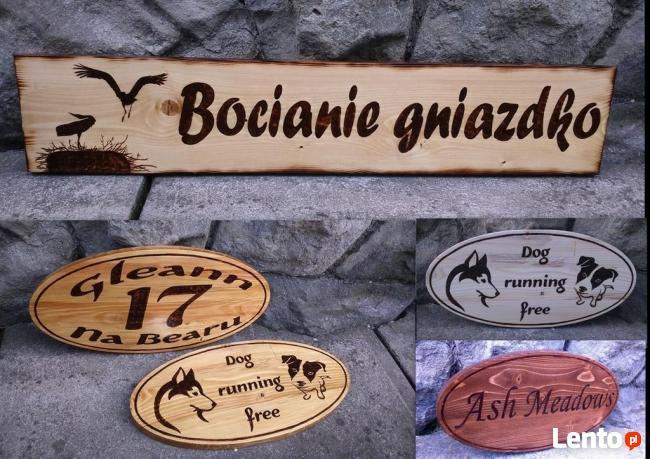 Szyld Reklama Baner Tablica w drewnie wypalanie na drewnie l