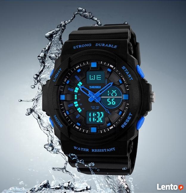Zegarek sportowy cyfrowo-analogowy 3 kolory miękki pasek
