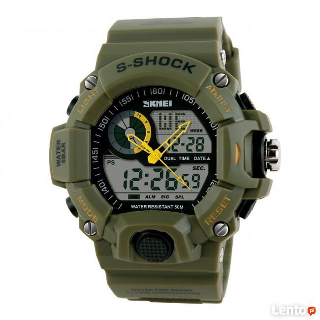 Męski militarny DUŻY zegarek styl G-SHOCK też kolor MORO