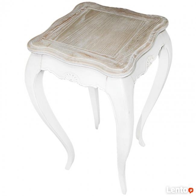 drewniany wysoki stolik kwietnik stojak na giętych nóżkach