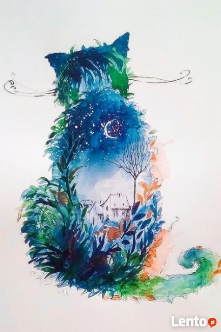 Akwarela KOTEK artystki plastyka Adriany Laube