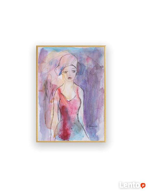 malowany ręcznie szkic z dziewczyną, grafika do salonu