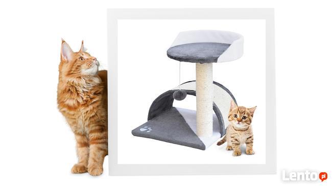 Drapak dla kota z hamakiem i budką szaro-biały