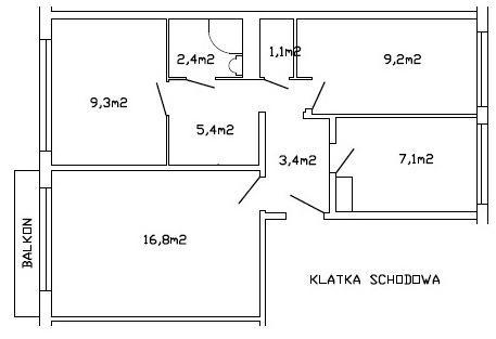 M-4, 3 pokoje, rozkład, balkon, ul.Odyńca