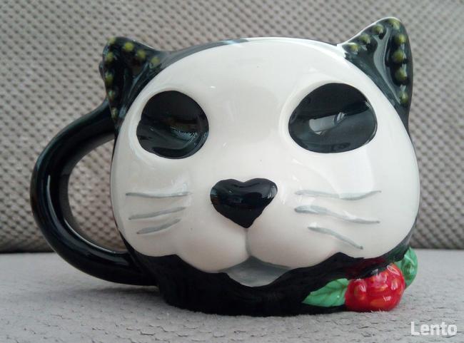 czarny kotek kubek unikat 420ml black cat skull
